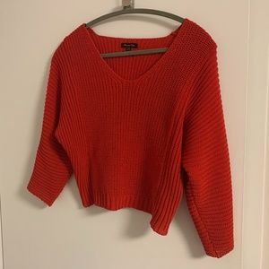 Cropped Red Massimo Dutti Sweater